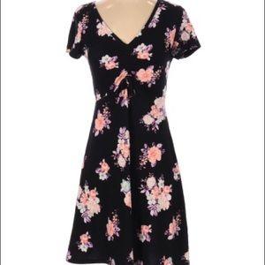 Ultra Flirt Black Floral Short Sleeve Mini Dress